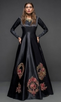 Make a dazzling impression in our black silk gown with victorian frames at the bottom and antique gold detailing on the neckline.