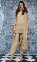Perfected with embellishment in beige gold sequins and Swarovski buttons, this ensemble turns a timeless style into a chic fancy. It comes with golden beige shalwar with sequined chiffon dupatta.