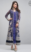Look alluring in our navy blue net jacket with embroidery. It is enhanced with silver kora dabka and Swarovski crystals, which instantly draw attention as they sparkle.