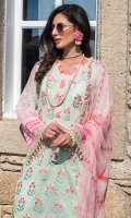Embroidered Front: 1 Meter Printed Back: 1.15 Meter Printed Sleeves: 0.7 Meter Cotton Trousers: 2.5 Meter Printed Chiffon Dupatta: 2.5 Meter Embroidered Border on Organza: 0.75 Meter Lace Trims: 1.5 Meter