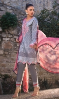 Printed Front: 1.15 Meter Printed Back: 1.15 Meter Printed Sleeves: 0.7 Meter Printed Chiffon Dupatta: 2.5 Meter Cotton Trousers: 2.5 Meter Embroidered Neckline on Organza: 1 Piece Embroidered Border 1 on Organza: 0.75 Meter Embroidered Border 2 on Organza: 1.5 Meter Lace 1: 1 Meter Lace 2: 1 Meter