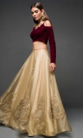 Opt for our glamorous choli sharara featuring maroon velvet with antique gold kora dabka neckline coordiNAted with gold organza sharara. It comes with melon pink net dupatta with sequins sprayed all over.