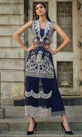 Look alluring in our NAvy blue long shirt embellished with floral motifs in silver kora dapka, pearl and kundan. The borders on the daman are enhanced with cutwork detailing that instantly draws attention.  It comes with ejar pants with geometric embellished border.