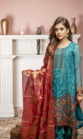 Shirt: - Embroidered Chiffon Dupatta: - Embroidered Chiffon and Jacquard Dupatta Trouser: - Dyed
