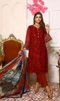 Three Pcs Embroidered Chiffon Suit