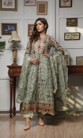 heavy machine embriodered maxi style suit with pants & embriodery dupatta