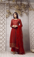 Heavy machine embriodery maxi style suit with flapper pants & chiffon embriodery dupatta