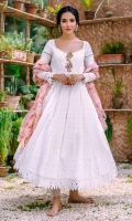 A pristine white chikan kalidaar with lace inserts. The neckline is enhanced with embroidered motifs and pearl clusters. The sleeves are detailed with laces, organza inserts, and a pearl spray. Shirt length 48 inches