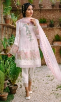 Blush pink cotton net shirt appliquéd with hand embellished motifs and pearl clusters. The shirt has an elaborate embroidered border on the hem and fancy lace trimmings. It comes with a net dupatta with finishings of embroidered borders and a shalwar.