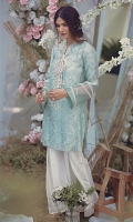 Self print cotton net square sleeves kurta with thread embroidery, sheesha work and tassels.