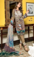 Digital Print Embroidered Front = 1.25 Mtr Digital Print Back & Seleeve = 1.95 Mtr Digital Print Chiffon Dupatta = 2.50 Mtr Dyed Trouser = 2.50 Mtr Two Embroidered Sleeve Bunches ( Organza ) One Embroidered Patch ( Organza ) = 1 Yard