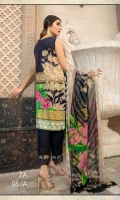 Digital Print Embroidered Front = 1.25 Mtr Digital Print Back & Sleeve = 1.95 Mtr Digital Print Chiffon Dupatta = 2.50 Mtr Dyed Trouser = 2.50 Mtr