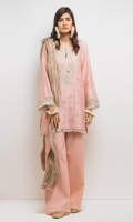 Pink tilla embroidered kurta with a round neckline with gold tilla tassel detail and Kiran trims. Paired with flared tilla pants and a crushed tissue dupatta.  3 -Piece Suit