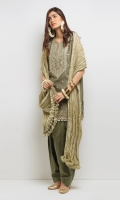 Sleeveless tilla embroidered kurta with Kiran and gold lace finishing. Paired with a shalwar with gold lace and a crushed tissue dupatta.  3 -Piece Suit