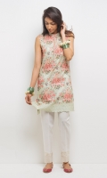 Sleeveless band collar straight shirt with cotton lace at hem and pearl detailing. Sleeves are also included 1-Pieces Suit