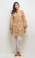 Drop shoulder loose flared shirt round neckline and cotton lace finishing's at hem and pearl details. 1-Pieces Suit