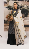 Embroidered front, back and sleeves 2.45yard Embroidered sunflower patches Printed jacquard dupatta 2.65 yard Cambric pants 2mtr