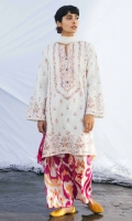Embroidered Dyed Front 1 Yard Embroidered Dyed Back 1 Yard Embroidered Dyed Sleeves 0.65 Yard Printed Swiss Voile Dupatta 2.6 Yards Printed Cambric Trouser 2.15 yards