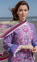 Printed Front and Back 2 Yards Printed Sleeves 0.65 Yards Embroidered Neckline Printed Chiffon Dupatta 2.6 Yards Plain Cambric Trouser 2.15 Yards