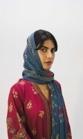 Printed linen front and back (2.6 yd) Embroidered sleeves on printed linen (0.65 yd) Printed linen dupatta (2.65 yd) Embroidered border (2.4 yd) Plain linen trouser (2.5 mtr)