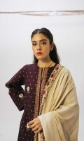Embroidered front and sleeves on printed khaddar (2.6 yd) Printed khaddar back (1.32 yd) Printed linen dupatta (2.65 yd) Embroidered neck patch Embroidered border patch (2.6 yd) Plain khaddar trouser (2.5 mtr)