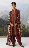 Embroidered front panel on printed cambric (0 .65 yd) Printed cambric back and side panel (1.38 yd) Embroidered sleeves on printed cambric (0.65 yd) Printed linen dupatta (2.65 yd) Embroidered side patti (2 yd) Embroidered ghera patti (2.65 yd) Plain cambric trouser (2.5 mtr)