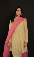Lime yellow flared kurta with sequin embroidery all over, paired with our classic tapered shalwar and a rose pink double-scalloped dupatta Wear metallic studs to give your outfit a more luxe feel