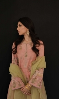 French pink loose fit kurta with sequin embroidery all over, paired with our embroidered tapered shalwar and pistachio green dupatta with applique border Compliment your look with a wide gold cuff and strappy kohlapuris