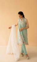Powder blue sleeveless straight fit kurta with embroidery all over, paired with straight fit trousers and shell white dupatta Wear nude pumps and a clutch to finish your look Note: - Sleeves are provided separately