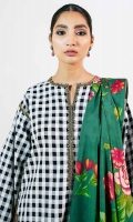 Lawn Checkered Shirt 2.5 Meters Embroidered Patti for Neckline & Tareez 4.25 Yards Embroidered Patti for Ghera, Trouser & Sleeves 8.5 Yards Embroidered Motifs 4 Pieces Printed Jacquard Dupatta 2.6 Yards Plain Cambric Trouser 2 Meters