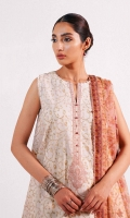 Embroidered Shirt 2.5 Yards Embroidered Neckline Embroidered Border Patch 2 yards Embroidered Motifs 2 Pieces Printed Chiffon Dupatta 2.6 Yards Plain Cambric Trouser 2 Meters