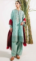 Embroidered Front Panel 0.35 Yard Embroidered Back Panel 0.35 Yard Embroidered Sleeves 0.7 Yard Embroidered Right Side Panel 0.7 Yard Embroidered Left Side Panel 0.7 Yard Embroidered Motifs 2 Pieces Embroidered Border Patch 1 Yard Jacquard Yarn Dyed Dupatta 2.6 Yards Plain Cambric Trouser 2 Meters