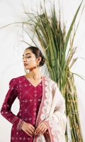 Embroidered Shirt 2.65 Yards Embroidered Border Patch 1.65 Yards Embroidered Sleeve Border Patch 1 Yard Lawn Jacquard Dupatta 2.6 Yards Plain Cambric Trouser 2 Meters