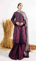 Embroidered Front 1.38 Yards Embroidered Back 1.38 Yards Embroidered Sleeves 1.38 Yards Embroidered Neckline Embroidered Border Patch 1 Yard Embroidered Patti 1.4 Yards Embroidered Patti 4.3 Yards Printed Chiffon Dupatta 2.6 Yards Plain Cambric Trouser 2 Meters