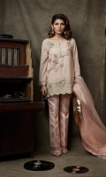 Embroidered, georgette chiffon shirt with embellishment on sleeves  hem and shirt front  Screen-printed boot-cut pants also included.