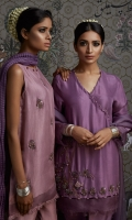 Raw-Silk Angrakha shirt with embellishment and tassle details Raw-silk tulip shalwar also included.