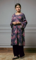 Signature vintage floral print purple shirt with tilla polka dot spray and intricately embroidered neckline and velvet embroidered detail on the sleeve. The outfit is paired with purple velvet pants with gold