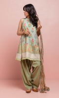 Sleeveless light green flared shirt with a botanical print and a woven gold border at the hem, adorned with intricate gold embroidery on the neckline. Paired with crushed Missouri gold dupatta and a lightly embroidered shalwar.