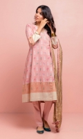 Chintz printed light pink classic Anarkali with light gold embroidery on the neckline and printed woven gold border paired with crushed gold Missouri dupatta.