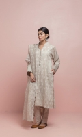 Crystal grey band collar kurta with embroidered motif and delicate handcrafted details on the sleeves and pocket. Paired with straights pintuck detail pants and detailed floral scalloped organza dupatta.