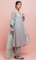 Grey flared kurta with intricate self-embroidery on Swiss lawn, detailed with contrasting tea pink and aqua finishing. The outfit is paired with a pure organza hand-block printed aqua dupatta and grey cambric gathered-hem shalwar.