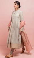 Flared Anarkali in oat coloured lawn with delicate embroidery all over, the hemline is detailed with dull gold contrasting meisori border. The outfit is paired with cambric chooridar with intricate tilla spray. The peach dupatta is in pure organza which is hand block printed in white and gold.