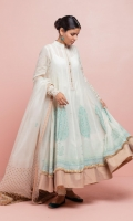 Swiss lawn flared Anarkali in off-white with hand block printed motifs all over. The hemline is detailed with our signature Kiran and meisori gold border. The outfit is paired with off-white cambric chooridar and pure organza hand block printed dupatta.