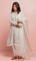 Flared lawn, oat colored kameez with intricate chikankari motifs on the border and booti spray all over, the kameez is delicately finished with fringe detailing. The outfit is paired with a white narrow-hem cambric shalwar which comprises of a beautiful flower patterned schiffli border, the pure organza dupatta in cream white has screen-printed motifs all over which is precisely finished with hand-crafted details.