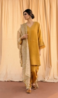 Cotton silk V-Neck panalled kurta with intricate gold Tilla embroidery on the neckline and sleeves with organza details. The outfit is paired with a matching tapered shalwar. Missouri tissue duaptta with ornate embroidery enhances the overall look of the outfit.