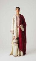 A fully embroidered white shirt with embroidery all over the front, back and sleeves, with extensive embroidered patches for the front and an embroidered neckline as well It is paired with a deep pink aari embroidered shawl and plain white trousers. Yardage:Embroidered Shawl- 2.65 Yard Embroidered Front & Back on Dyed Cotton Satin- 2 Yard Sleeves on Dyed Cotton Satin- 0.65 Yard Embroidered Border Patch for Front Embroidered Patti- 1 Yard Plain Cotton Satin trouser- 2.5 Mtr