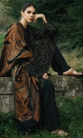 A fully embroidered black shirt with embroidery all over the front, back and sleeves, with additional embroidered pattis for the neckline, sleeves and ghera It is paired with a heavy jacquard shawl and plain dyed trousers Yardage:Jacquard Shawl- 2.65 Yard Embroidered Front & Back on Dyed Linen- 2 Yard Embroidered Sleeve on Dyed Linen- 0.65 Yard Embroidered Border Patch- 2 Yard Plain Linen trouser- 2 Mtr