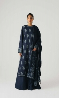 A fully embroidered deep blue shirt with aari embroidery all over the front, back and sleeves with an additional embroidered patti for the neckline and ghera It is paired with a heavily embroidered aari shawl with plain dyed trousers Yardage:Embroidered Shawl- 2.65 Yard Embroidered Front on Dyed Cotton Satin- 1 Yard Embroidered Back on Dyed Cotton Satin- 1 Yard Sleeves on Dyed Cotton Satin- 0.65 Yard Embroidered Patti- 1.6 Yard Plain Cotton Satin trouser- 2.5 Mtr