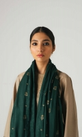 An extensively embroidered beige shirt with embroidery on the front, back and sleeves It is paired with a deep green fully embroidered shawl, with an additional embroidered patti and plain dyed beige trousers. Yardage:Embroidered Shawl- 2.65 Yard Embroidered Front on Dyed Cotton Satin-0.65 Yard Embroidered Back on Dyed Cotton Satin- 1.4 Yard Sleeves on Dyed Cotton Sateen- 0.65 Yard Embroidered Shawl Patti- 6 yard Plain Cotton Satin trouser- 2.5 Mtr