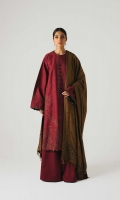 An embroidered deep red shirt with Kashmiri style embroidery on the front, back and sleeves, along with an embroidered neck patti It is paired with an embroidered camel colored shawl with additional embroidered pattis and plain dyed deep red trousers Yardage:Embroidered Shawl- 2.65 Yard Embroidered Front on Dyed Cotton Satin- 1 Yard Embroidered Back on Dyed Cotton Satin- 1 Yard Sleeves on Dyed Cotton Satin- 0.65 Yard Embroidered Neckline patti Embroidered Patti- 1.6 Yard Embroidered Shawl Patti- 6 yard Plain Cotton Satin trouser- 2.5 Mtr